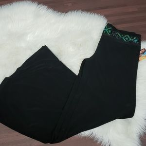 NWT Black Green Sequined Wide Leg Pants